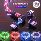 540  Light Up Magnetic Phone Charger Cable LED Flowing Cord For iPhone Samsung