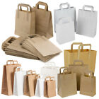 Brown White Takeaway Kraft Paper SOS Food Carrier Bags with Handles Party Cafe S