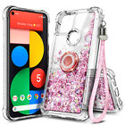 For Google Pixel 4a / Pixel 5 Phone Case Liquid Glitter Ring Stand & Lanyard