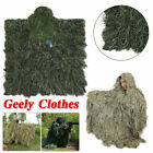 Outdoor 3D Hunting Camouflage Ghillie Cloak w/Cap Breathable Woodland Poncho Set