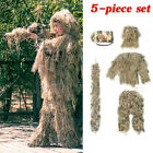 New Kids Ghillie Suit Camo Woodland Camouflage Forest Hunting 3D 4-Piece + Bag