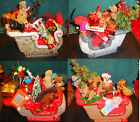 4 Scioto Softy Hand Painted Santa's Sleighs Loaded w Toys Beautiful OOAK Art PCS