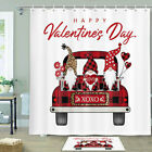 Happy Valentine's Day Elf Shower Curtain Bathroom Decor Fabric 12hooks 71in