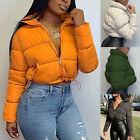 Fashion Women Solid Stand-up Collar Cardigan Down Jacket Outerwear Padded Coat