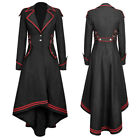 Women Gothic Fashion Long Jacket Swallowtail Coat Train Vintage Medieval Outfits