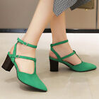 Women's Pumps Shoes Ankle Strappy Pointed Toe Chunky Heel Party Dress Sandals