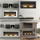 Bio Ethanol Fireplace Inset Wall Mounted Biofire Fire Stainless Steel Glass Home