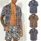 Leopard Print Shirt Tops Blouse T-Shirt Club Party Men's Short Sleeve Tee