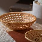 New Woven Hollow Storage Tray Round Rattan Bread Basket Food Serving Platter Tea