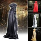 Adult Hooded Plain Cape Cloak Halloween Medieval Witch Robe Fancy Costume 4color