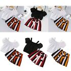 Girls Outfit Tops T-Shirt Stripe Belted Shorts Set Toddler Kids Casual Clothing