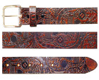 Lucky 13 Day of the Dead Skull Tattoos Embossed Antiqued Leather Belt LABL25DS