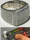 Men's Solid 925 Silver MOISSANITE Pass Diamond Tester Square Pinky RING Hip Hop