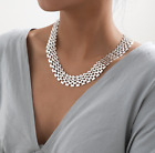 Silver Or Gold Chunky Flat Chain Statement Necklace