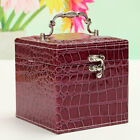 Leather Jewelry Box Earring Ring Necklace Holder Organizer Ornament Storage Case