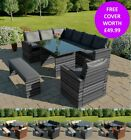 Rattan Garden Patio Furniture 9 Seater Corner Dining Set With Armchair And Bench