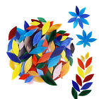 100 Pieces Assorted Colors Petal Mosaic Tiles Stained Glass for Art Crafts