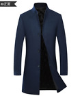 Winter Men Stand collar Dress Slim Trench Coat Wool Blend Jacket Quilted 2021
