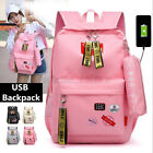 2Pcs Women USB Backpack Laptop Girls Ladies Student School Handbag Tote Bookbag