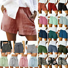 Women Summer Drawstring Casual Elastic Waist Pocket Loose Shorts Pants Holiday