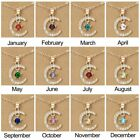 Women Crystal Pendant Necklace Birthstone Month Moon Star Charm Card Choker Gift