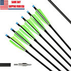 12 Pack 30'' Archery Carbon Arrows 5'' Turkey Feather Spine 500 For Recurve Bow