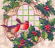 Christmas~ROBIN RED BREAST BIRDS~STAINED GLASS WINDOW ~Antique Postcard-Germany photo