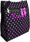PERSONALIZED Tote Polka Dot Bow/Patent Trim 4 Bag Clrs