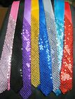 "Sequin SATIN SEQUINNED Party Plain 2"" Skinny Neck Tie Fancy Dress Magic Show"