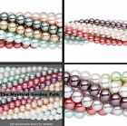 "TEN 30"" Strands 4, 6 OR 8mm Multi Round Glass Pearl Bead Assortment"
