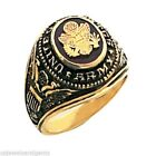 New Men's 10 or 14k Yellow Gold United States US Army Military Ring