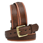 3D Western Mens Belt Leather Tooled Ostrich Print Brown 1634