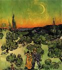 "Vincent Van Gogh- Landscape with Couple Walking and Moon - 20""x24"" Art on Canvas"