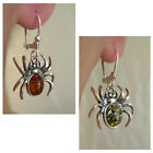 BALTIC HONEY or GREEN AMBER STERLING SILVER HANDMADE SPIDER EARRINGS