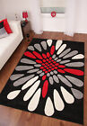 THICK BLACK GREY RED IVORY CREAM MODERN CARVED LARGE FLOOR RUG TORONTO 2 SIZES