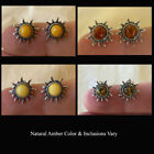 MULTICOLOR LEMON HONEY WHITE or GREEN AMBER & STERLING SILVER SUN STUD EARRINGS