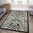 Modern Black Ivory Zebra Print Rug Animal Safari Small Large XXL Mats - 7 Sizes