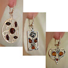 HEART, FLOWER or HOOP EARRINGS BALTIC HONEY or CHERRY AMBER & STERLING SILVER