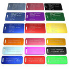 Engraved Luggage Tag Suit Case Travel Protection Personalised Coloured Address