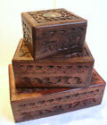 Floral Carved Wood JEWELLERY TRINKET BITS Hair Accessory BOX Small Medium Large