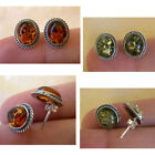 BALTIC HONEY or GREEN AMBER & STERLING SILVER OVAL STUD EARRINGS