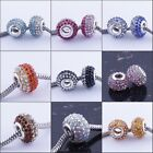 10/20P Colorful Crystal Rhinestone Resin Charms European Beads Fit Bracelets