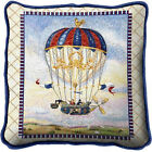 Whimsical Mail Drop from Hot Air Balloon Woven Art Tapestry Pillow