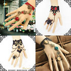 Sexy Vintage Black Lace Bracelet Bronze Ring Flower Wrist Cuffs Fingerless Glove