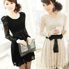 Women's Elegent Long Puff sleeve Bowknot on waist Lace dress