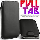 BLACK PREMIUM LEATHER PULL TAB CASE COVER POUCH FOR VARIOUS HANDSETS