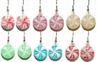 COLORFUL CHRISTMAS PEPPERMINT CANDY DANGLE EARRINGS - 6 CHOICES - U PICK