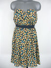 NWT Juniors CITY TRIANGLES Navy Yellow & Pink Floral Strapless Casual Dress $59