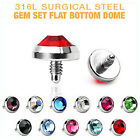 Surgical Steel Dermal Anchor Heads With Crystal DomeTop
