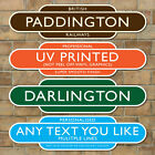 Railway Totem Station Sign, Personalised Metal Sign, Various Size & Colours